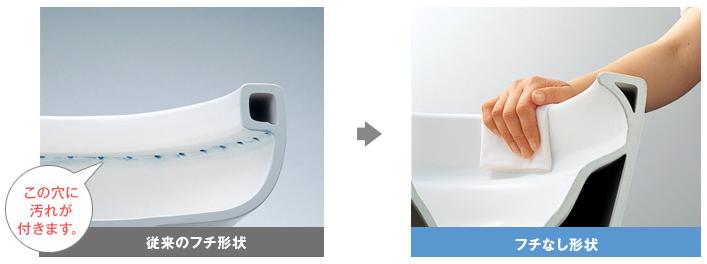 フチなし形状便器/汚れがサッとひとふきできます
