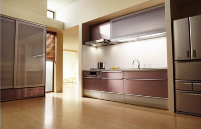 リビングを楽しくコーディネート。家具のようなキッチン。